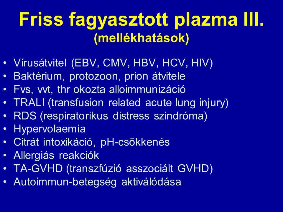 Friss fagyasztott plazma III. (mellékhatások)
