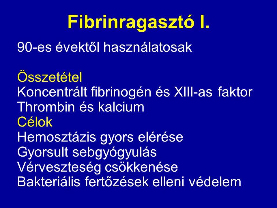 Fibrinragasztó I. 90-es évektől használatosak Összetétel