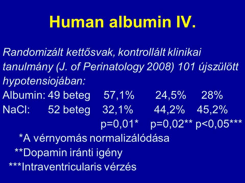 Human albumin IV. Randomizált kettősvak, kontrollált klinikai