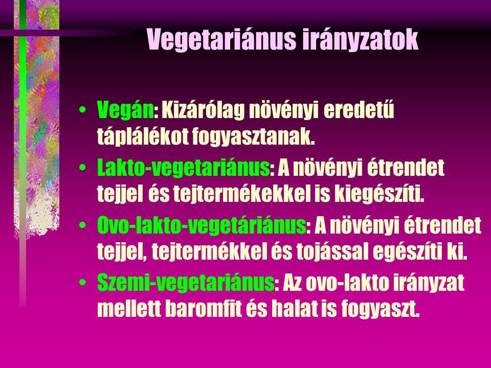 Vegetariánus irányzatok