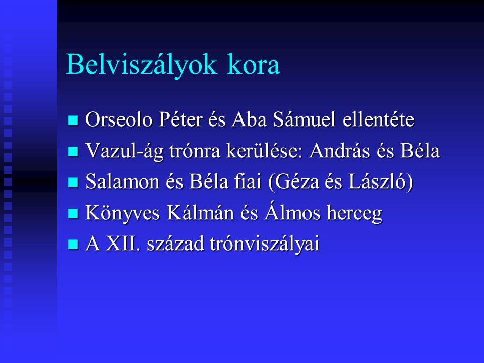 Belviszályok kora Orseolo Péter és Aba Sámuel ellentéte