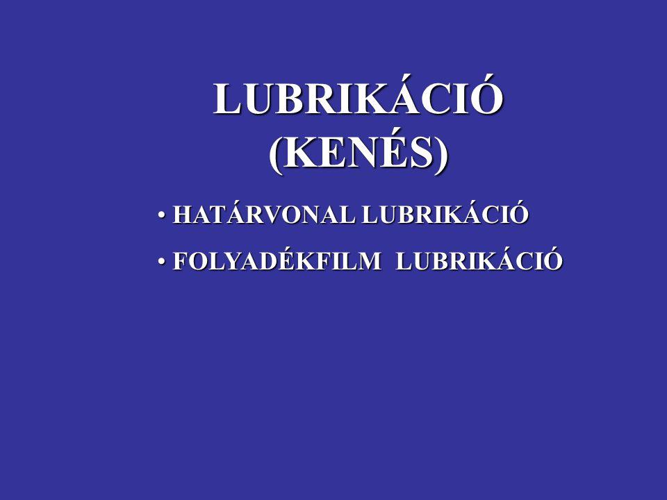 LUBRIKÁCIÓ (KENÉS) HATÁRVONAL LUBRIKÁCIÓ FOLYADÉKFILM LUBRIKÁCIÓ