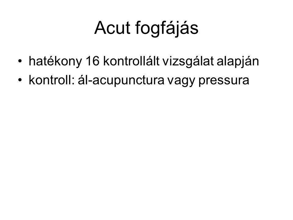 Acut fogfájás hatékony 16 kontrollált vizsgálat alapján