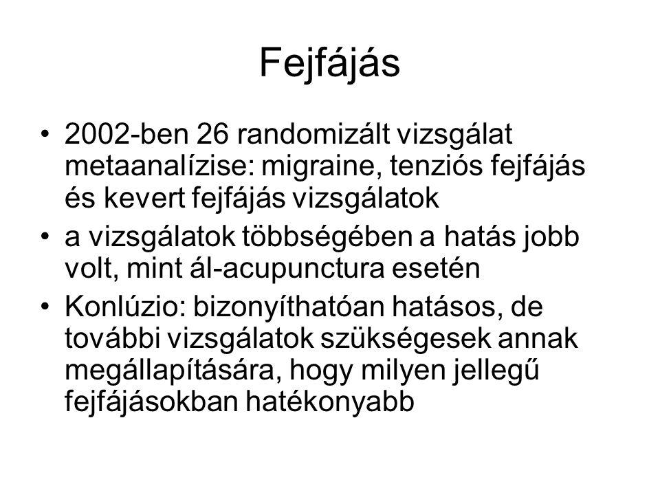 Fejfájás 2002-ben 26 randomizált vizsgálat metaanalízise: migraine, tenziós fejfájás és kevert fejfájás vizsgálatok.