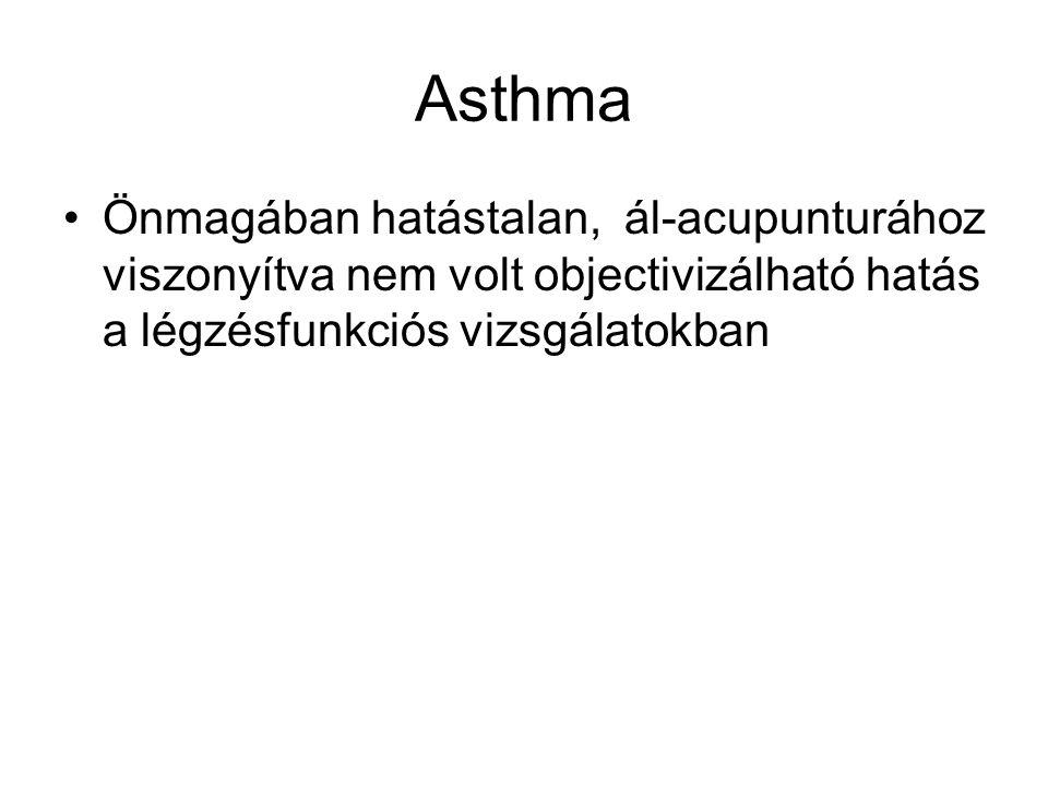 Asthma Önmagában hatástalan, ál-acupunturához viszonyítva nem volt objectivizálható hatás a légzésfunkciós vizsgálatokban.