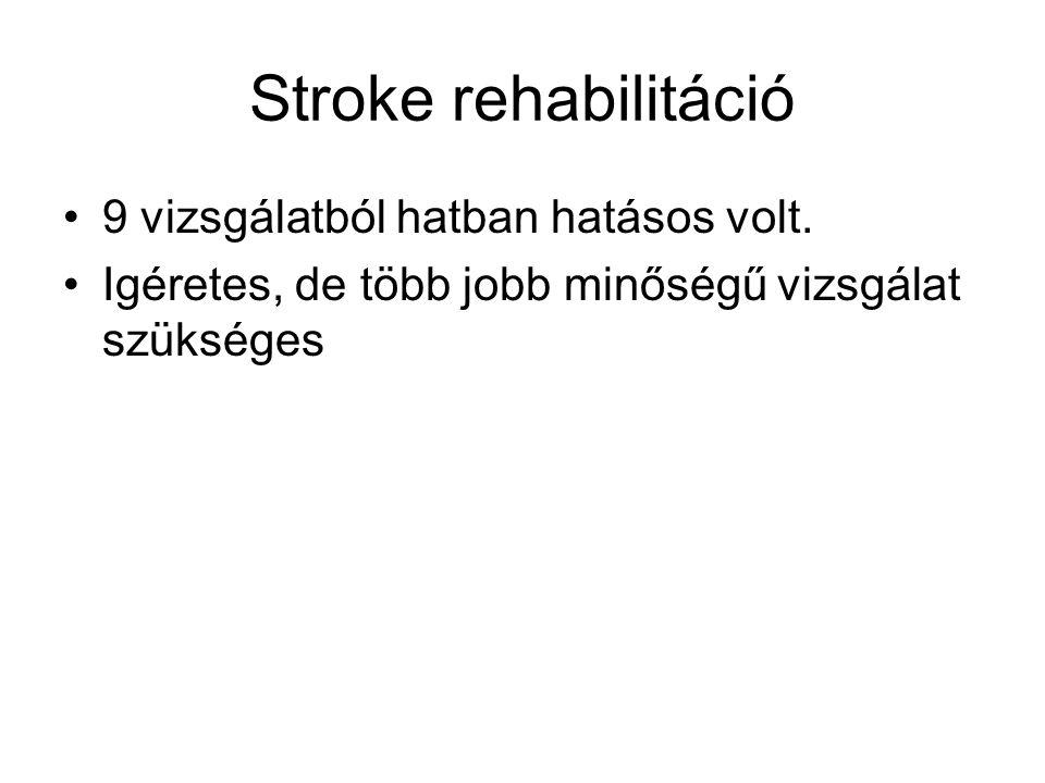 Stroke rehabilitáció 9 vizsgálatból hatban hatásos volt.