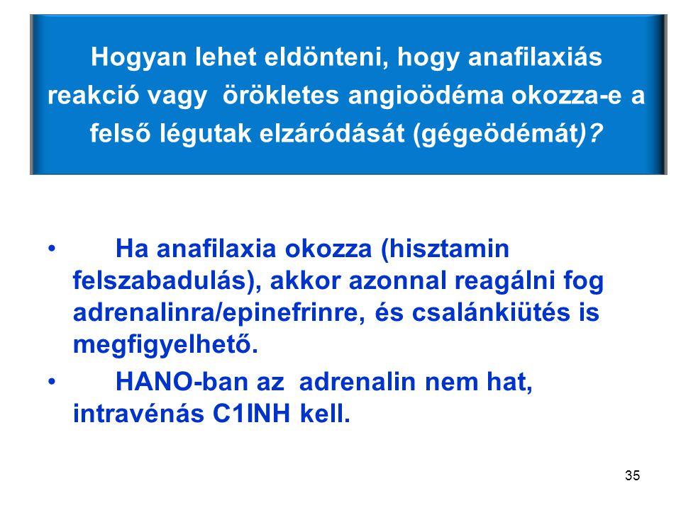 HANO-ban az adrenalin nem hat, intravénás C1INH kell.