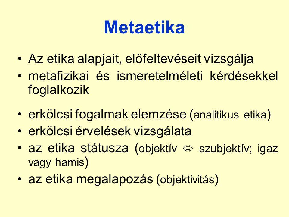 Metaetika Az etika alapjait, előfeltevéseit vizsgálja