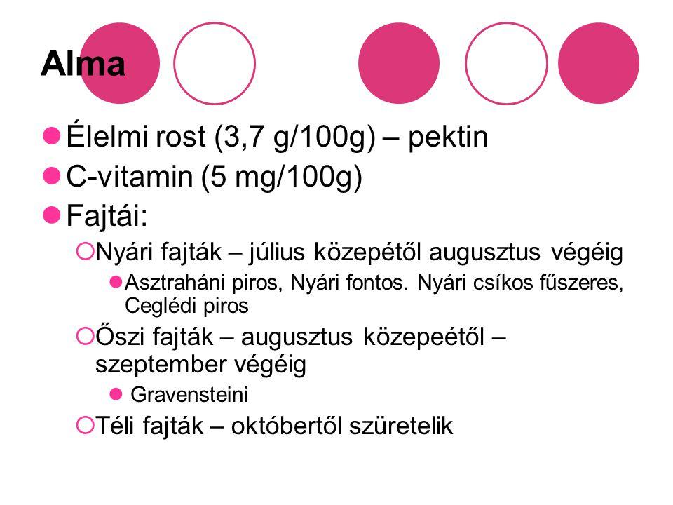 Alma Élelmi rost (3,7 g/100g) – pektin C-vitamin (5 mg/100g) Fajtái: