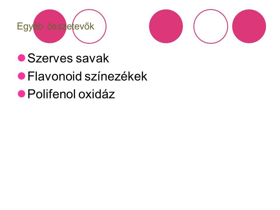 Egyéb összetevők Szerves savak Flavonoid színezékek Polifenol oxidáz