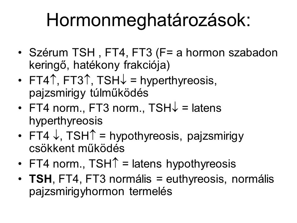 Hormonmeghatározások: