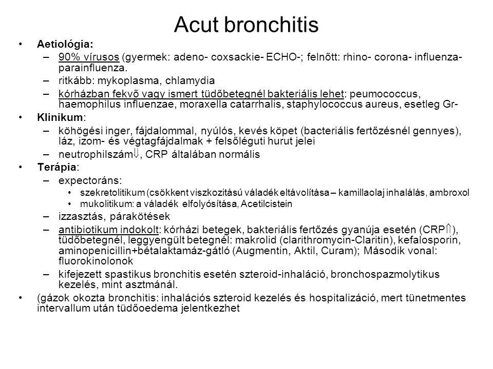 Acut bronchitis Aetiológia: