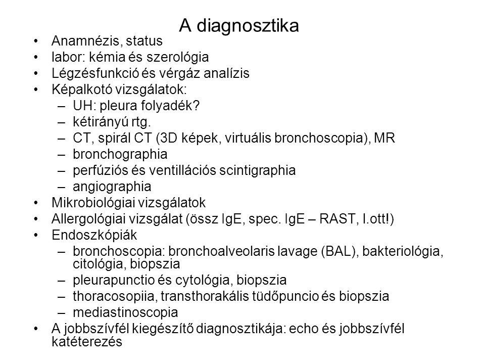 A diagnosztika Anamnézis, status labor: kémia és szerológia