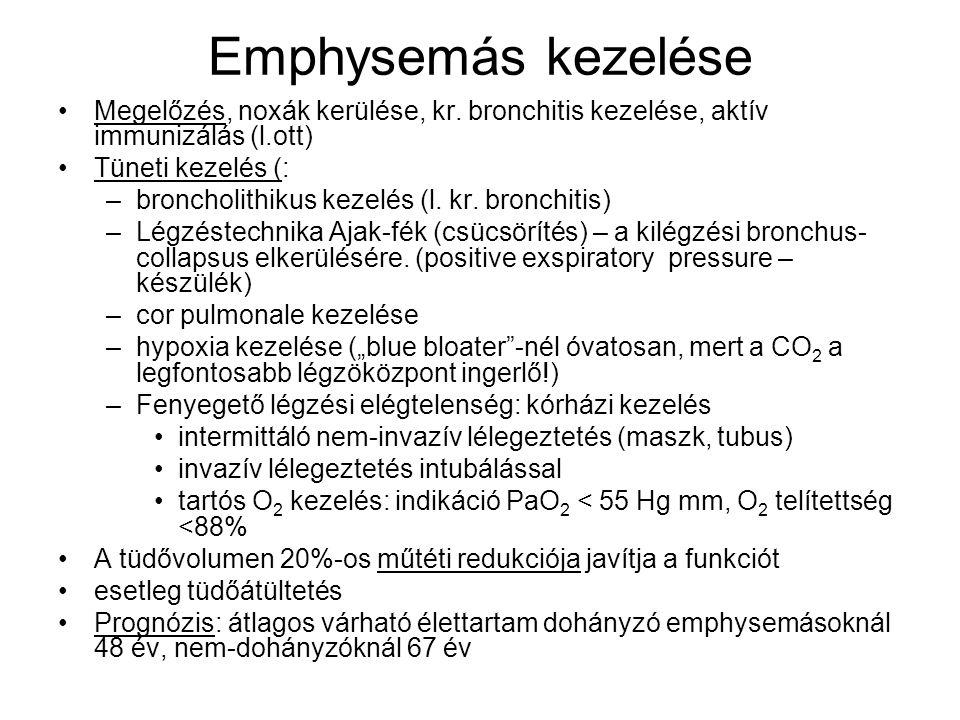 Emphysemás kezelése Megelőzés, noxák kerülése, kr. bronchitis kezelése, aktív immunizálás (l.ott) Tüneti kezelés (: