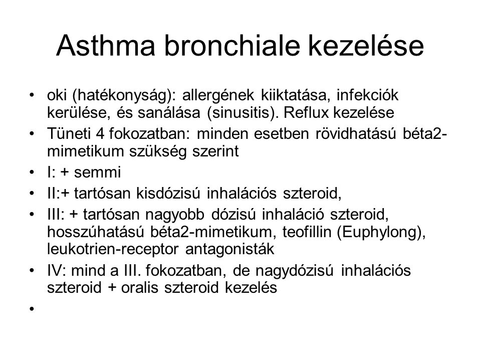 Asthma bronchiale kezelése