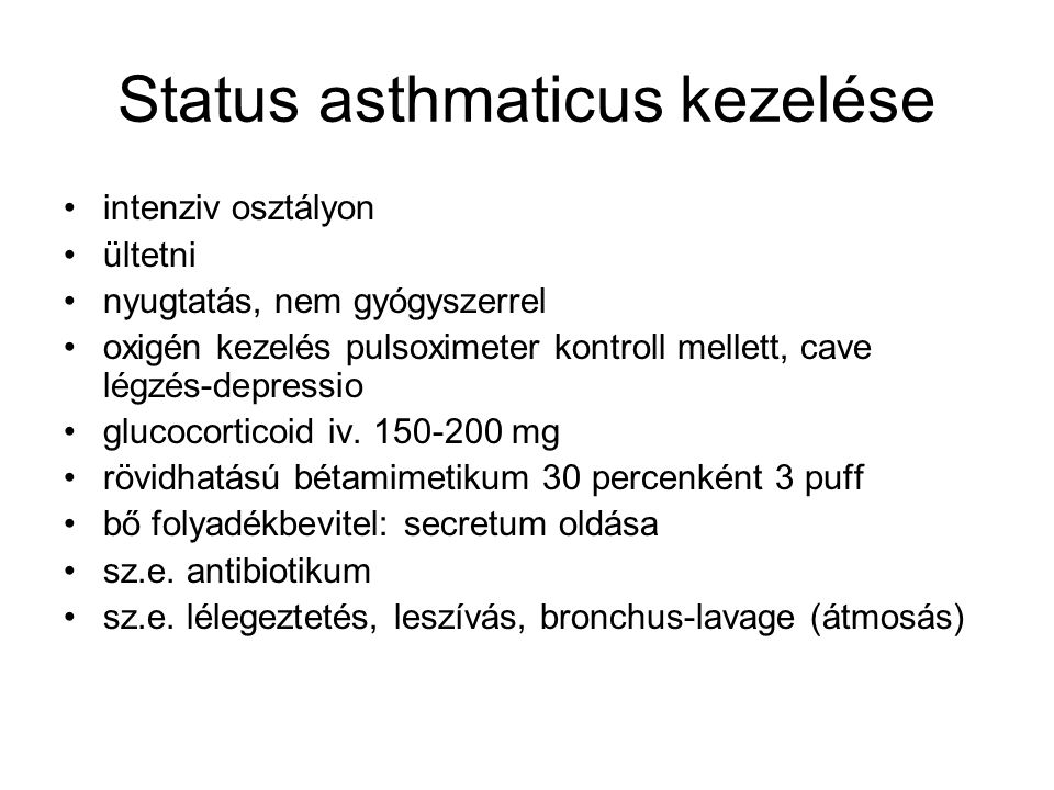 Status asthmaticus kezelése