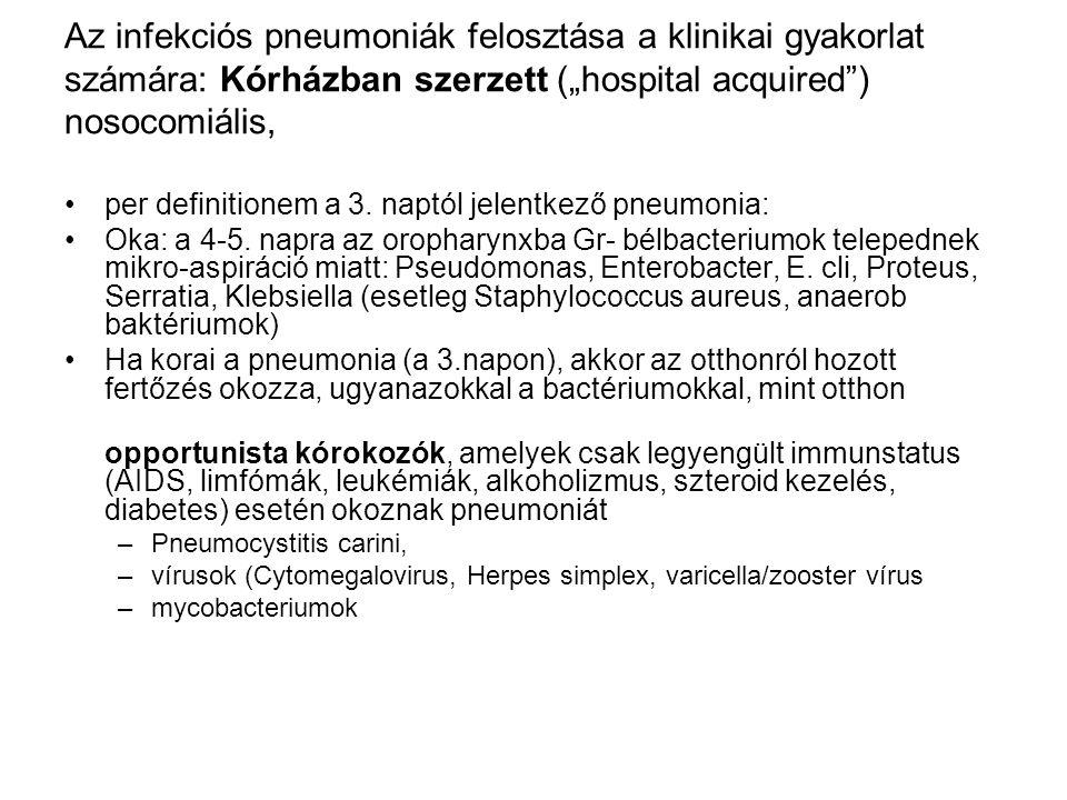 """Az infekciós pneumoniák felosztása a klinikai gyakorlat számára: Kórházban szerzett (""""hospital acquired ) nosocomiális,"""