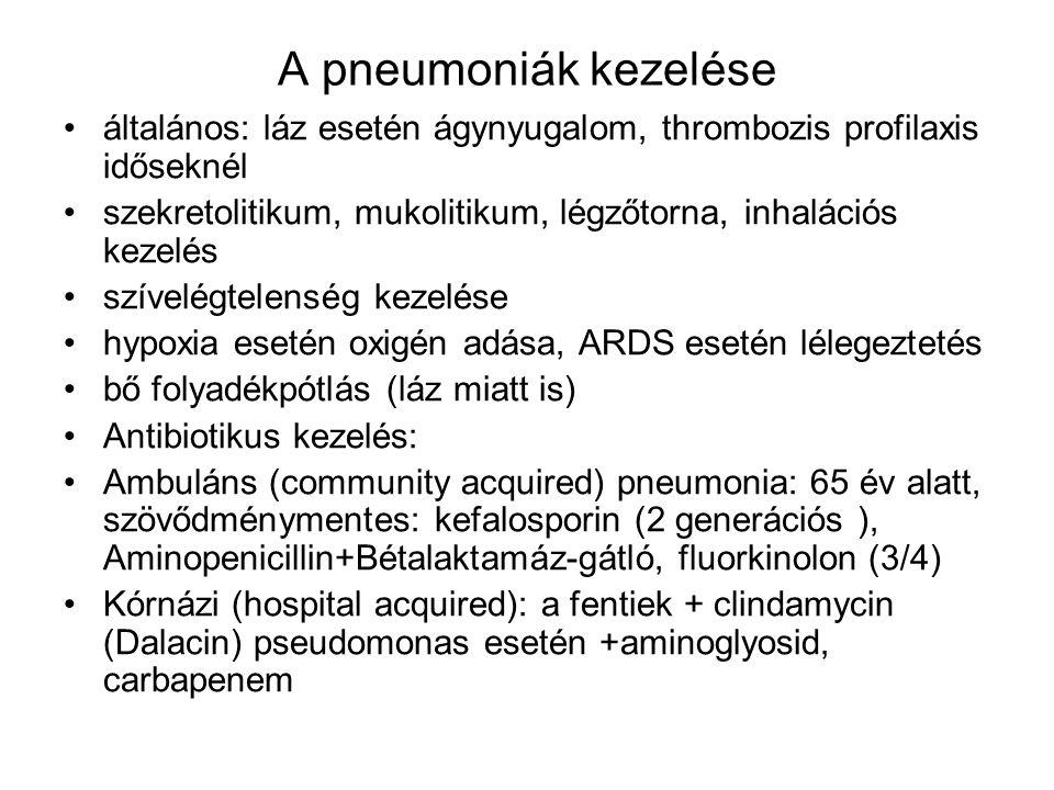 A pneumoniák kezelése általános: láz esetén ágynyugalom, thrombozis profilaxis időseknél.