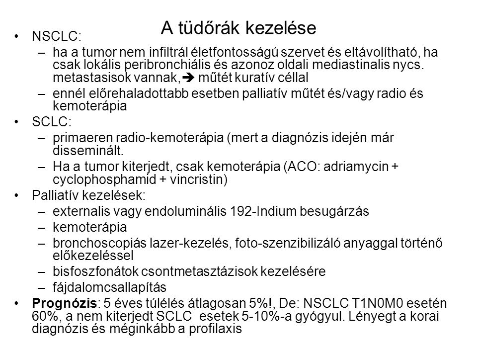 A tüdőrák kezelése NSCLC: