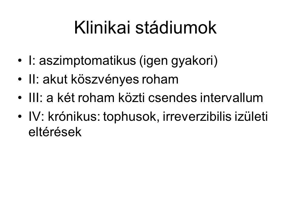 Klinikai stádiumok I: aszimptomatikus (igen gyakori)