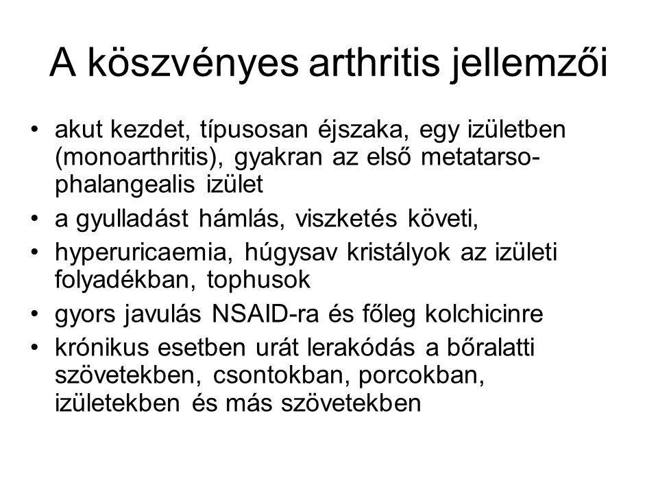 A köszvényes arthritis jellemzői
