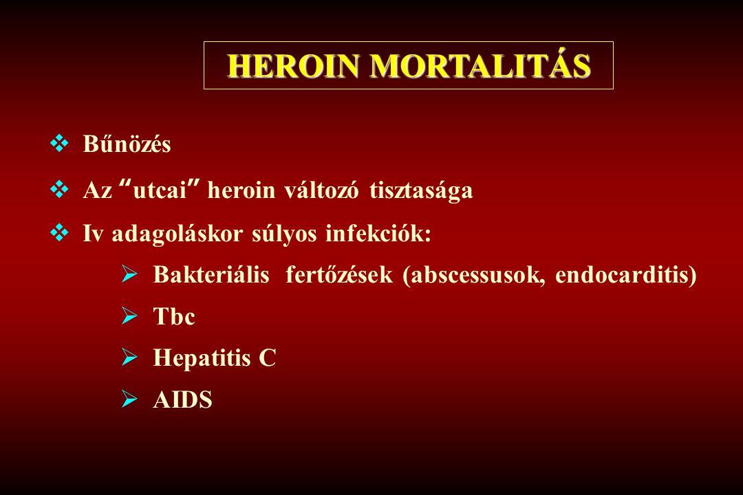 HEROIN MORTALITÁS Bűnözés Az utcai heroin változó tisztasága
