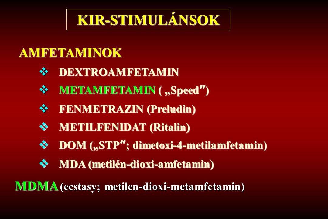 KIR-STIMULÁNSOK AMFETAMINOK MDMA (ecstasy; metilen-dioxi-metamfetamin)
