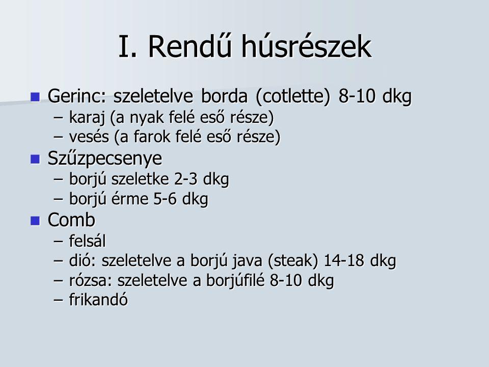 I. Rendű húsrészek Gerinc: szeletelve borda (cotlette) 8-10 dkg
