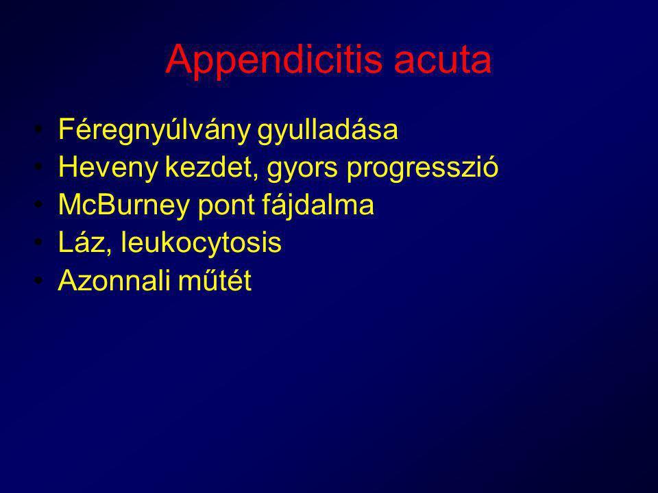 Appendicitis acuta Féregnyúlvány gyulladása