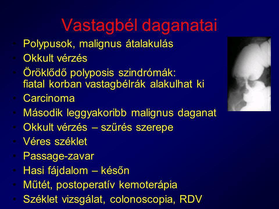 Vastagbél daganatai Polypusok, malignus átalakulás Okkult vérzés