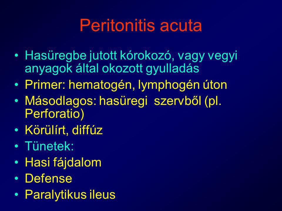 Peritonitis acuta Hasüregbe jutott kórokozó, vagy vegyi anyagok által okozott gyulladás. Primer: hematogén, lymphogén úton.