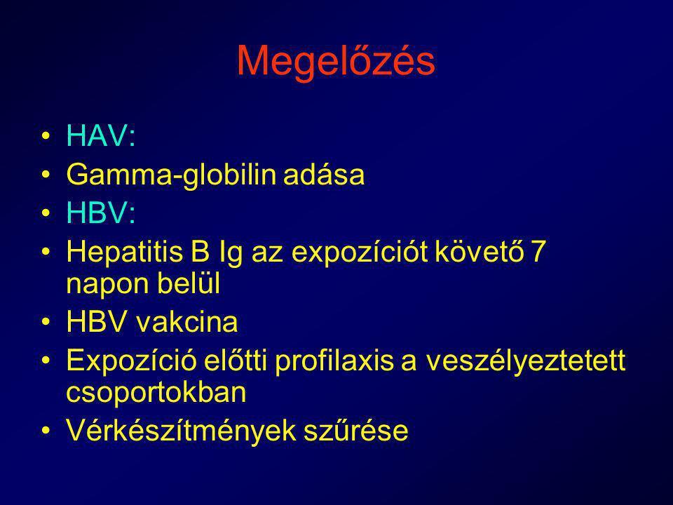 Megelőzés HAV: Gamma-globilin adása HBV: