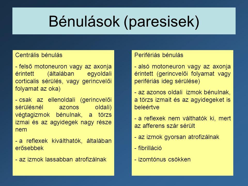 Bénulások (paresisek)