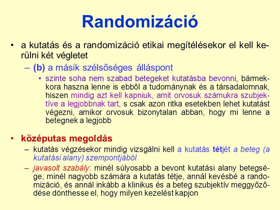 Randomizáció a kutatás és a randomizáció etikai megítélésekor el kell ke-rülni két végletet. (b) a másik szélsőséges álláspont.