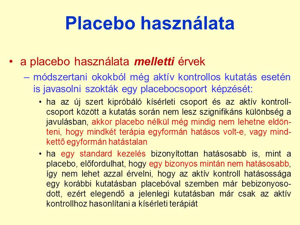 Placebo használata a placebo használata melletti érvek