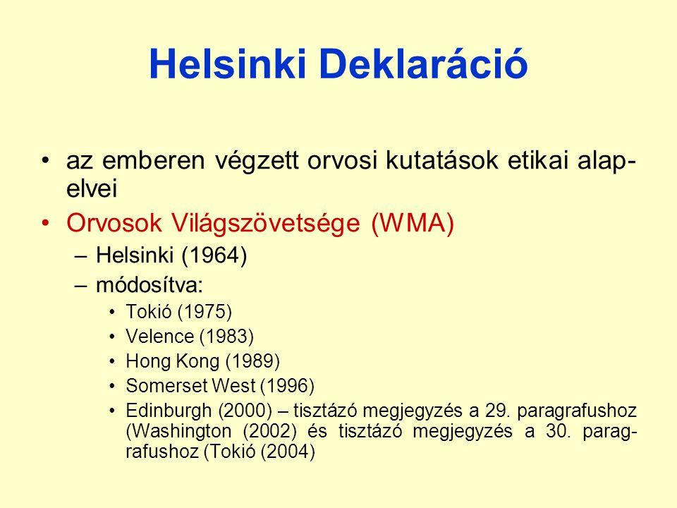 Helsinki Deklaráció az emberen végzett orvosi kutatások etikai alap-elvei. Orvosok Világszövetsége (WMA)