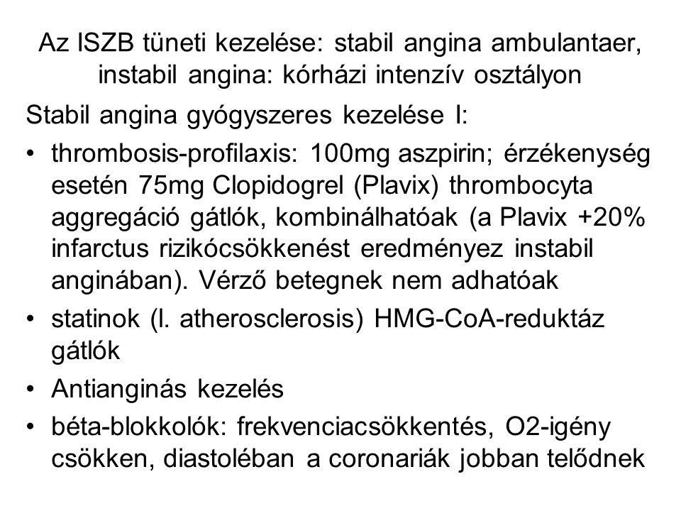 Az ISZB tüneti kezelése: stabil angina ambulantaer, instabil angina: kórházi intenzív osztályon