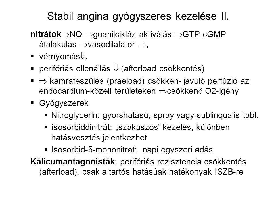 Stabil angina gyógyszeres kezelése II.