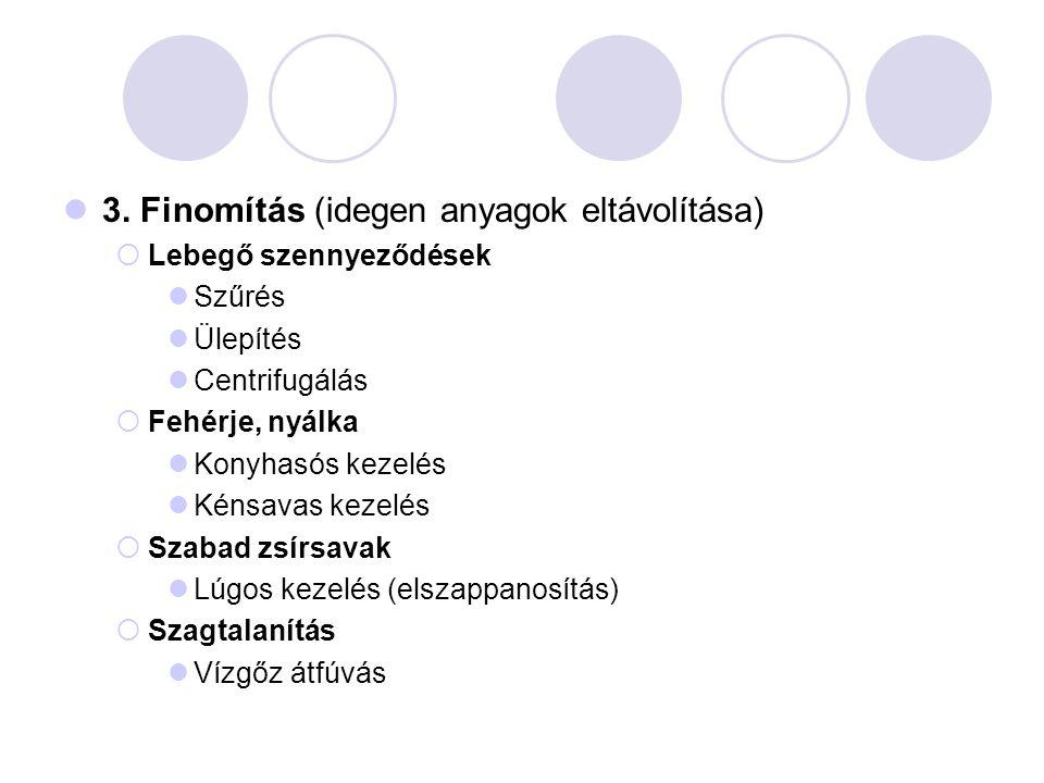 3. Finomítás (idegen anyagok eltávolítása)