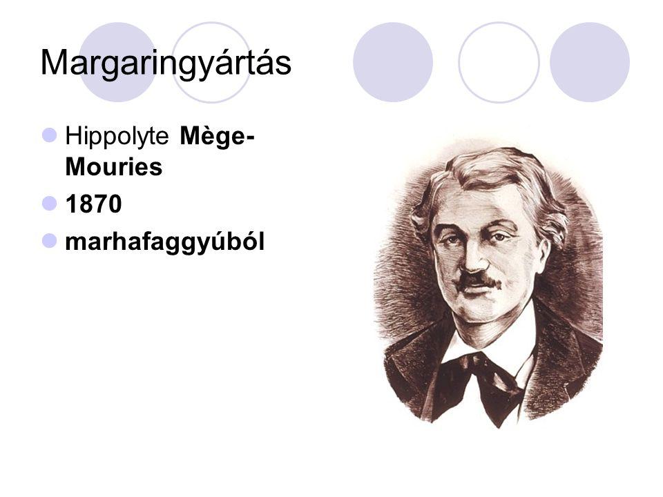 Margaringyártás Hippolyte Mège-Mouries 1870 marhafaggyúból