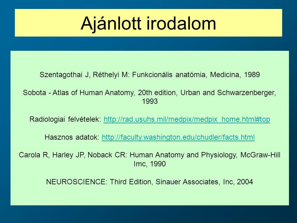 Ajánlott irodalom Szentagothai J, Réthelyi M: Funkcionális anatómia, Medicina, 1989.