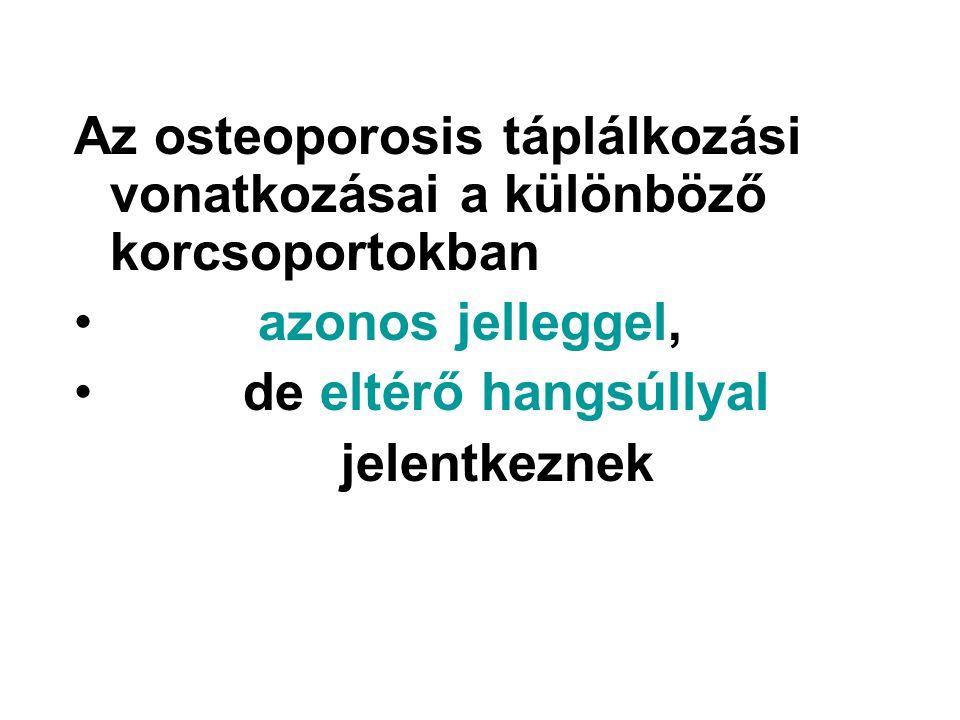 Az osteoporosis táplálkozási vonatkozásai a különböző korcsoportokban