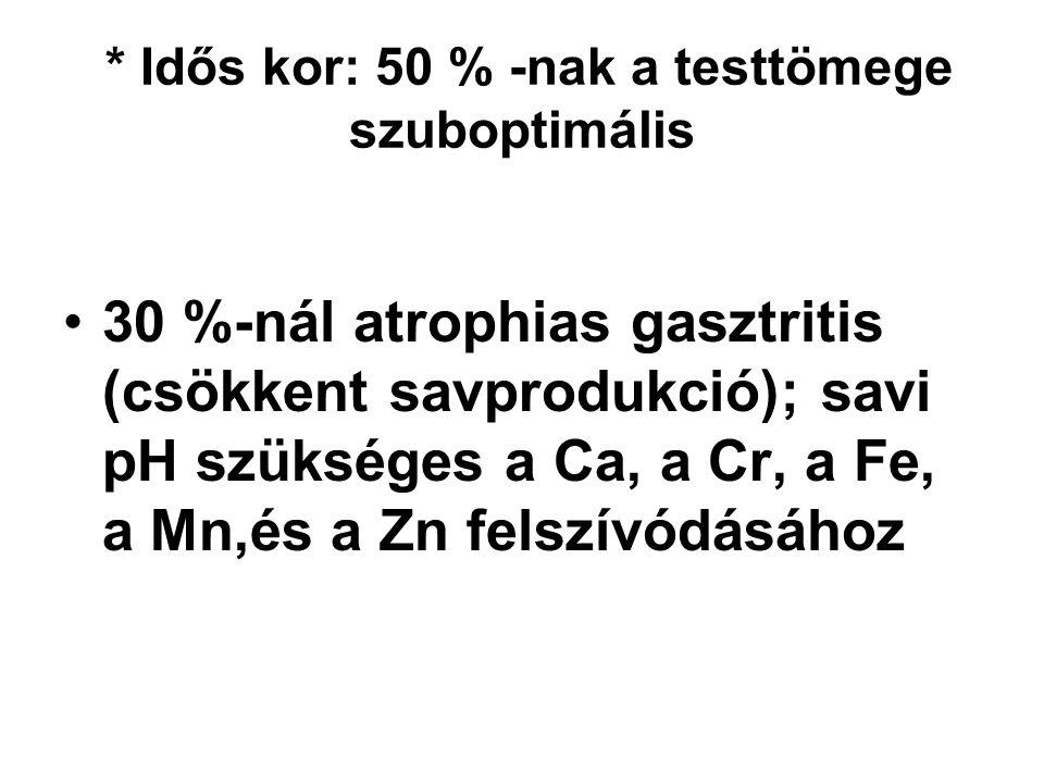 * Idős kor: 50 % -nak a testtömege szuboptimális