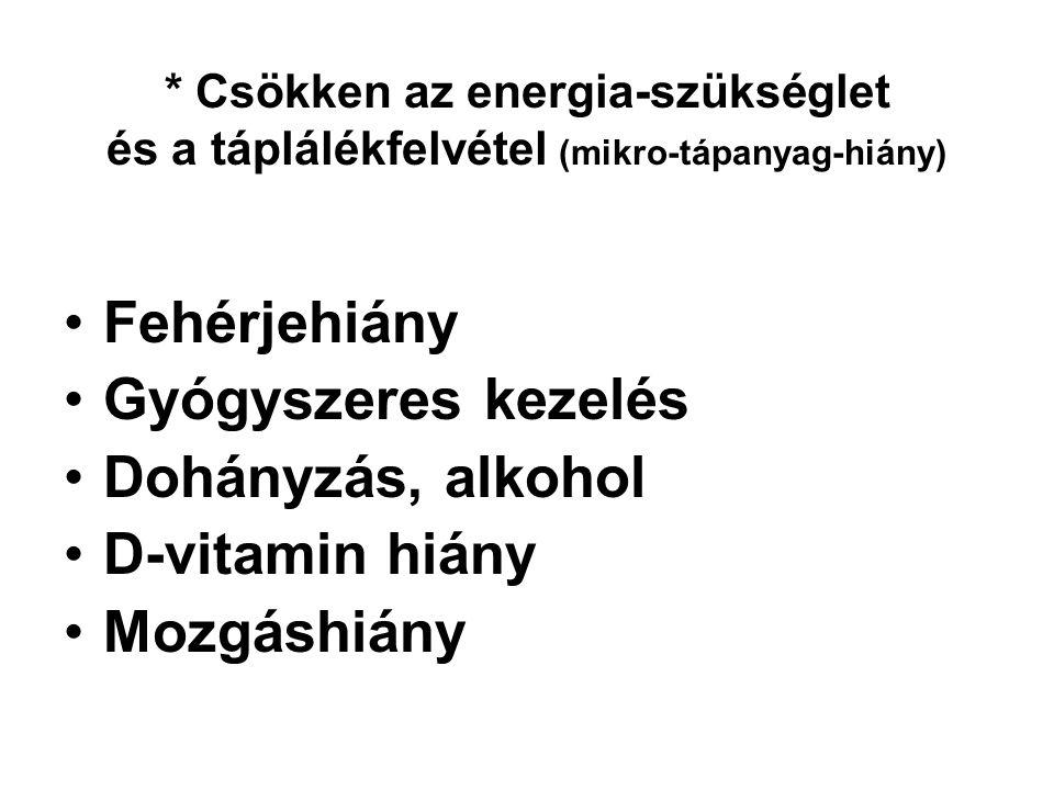 Fehérjehiány Gyógyszeres kezelés Dohányzás, alkohol D-vitamin hiány