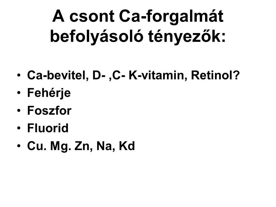 A csont Ca-forgalmát befolyásoló tényezők: