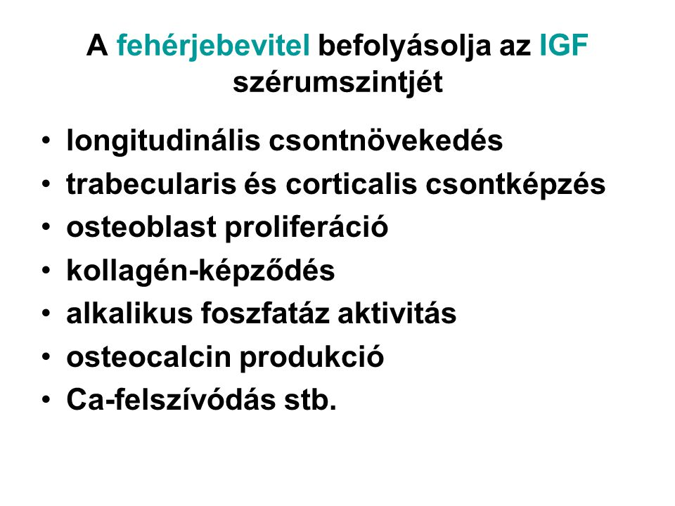 A fehérjebevitel befolyásolja az IGF szérumszintjét