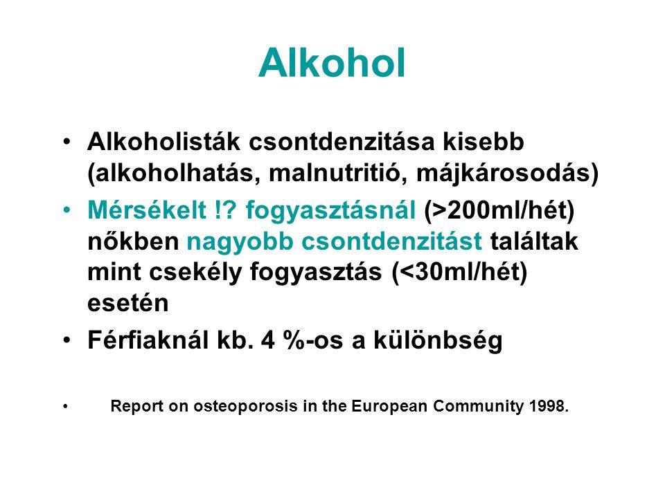 Alkohol Alkoholisták csontdenzitása kisebb (alkoholhatás, malnutritió, májkárosodás)