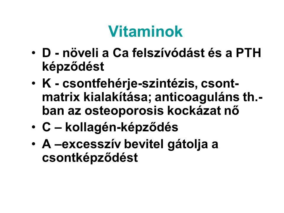Vitaminok D - növeli a Ca felszívódást és a PTH képződést