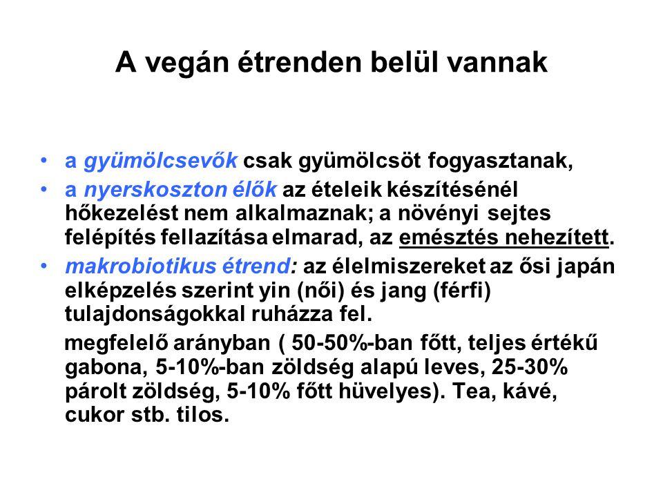 A vegán étrenden belül vannak