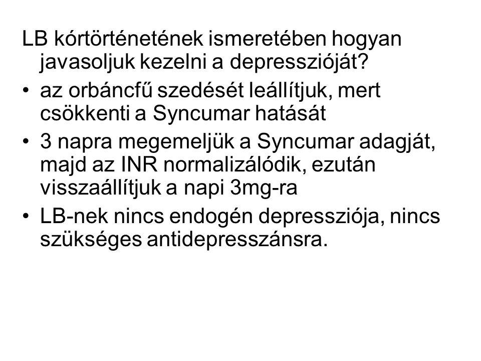 LB kórtörténetének ismeretében hogyan javasoljuk kezelni a depresszióját